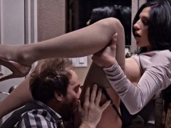 Busty whore in sexy lingerie screwed rough by big cock