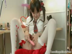 Sweet Asian teen performing solo