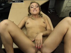 Pretty blonde girl gets her pussy screwed in the backroom