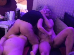 Amateur couple having a trio with a squirter