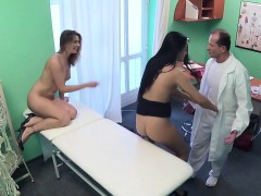 Threesome with female and male doctors