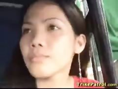 Sexy Filipina with big fucking tits entertains foreigner in