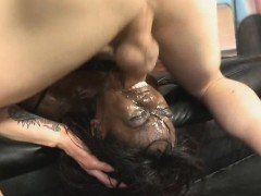 Bold Black Ghetto Bimbo Face Bashed With White Dick