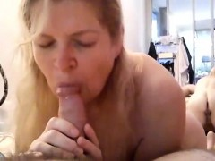 Chubby blonde cougar passionately works her lips on her lov