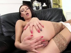 Naughty czech chick gapes her narrow snatch to the peculiar