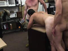 Hairy soldier gets hard in front of guys