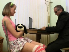 Darling opens her cum-hole for teacher's hard drilling