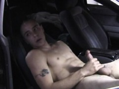 Straight hunk jerking off in parked car