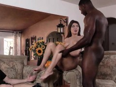 Appealing babe takes black dick from behind