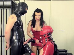 Leather mistress punishes sub with gayblowjob