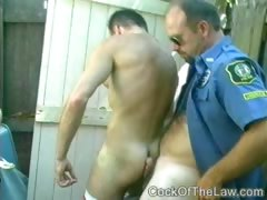 Hard cop cock milked dry by stranger