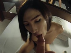 Hot Asian Ladyboy Fetish Style Blowjob With Handcuffs On