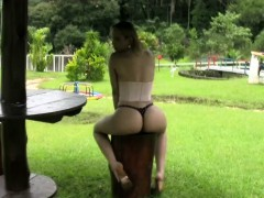 Feminine T-girl Exposes And Spreads Beautiful Ass In Thongs