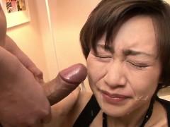 Akina Hara sucks on several dicks in a series of sloppy