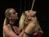 Blonde Bombshell in Red Lingerie Tied and Restrained