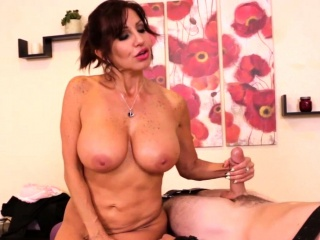 GILF masseuse controlling her clients dick