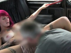Tattooed redhead gets fucked in fake taxi