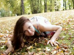 Supercute teen Anita E strips off naked in the woods