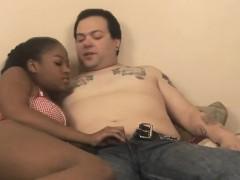 Titty black teen sucks white cock