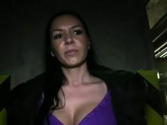 Amateur gets huge tits cumshot in public garage