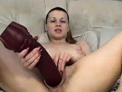 Hairy milf fists and fucks herself with huge toy