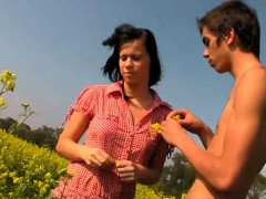 One chap nails two attractive girls