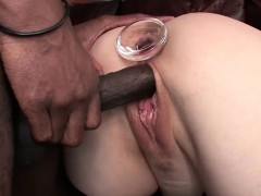 Slut gets ass toyed and drilled by black cock