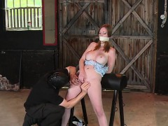 Busty and hairy redhead in bdsm