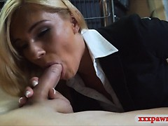 Hot blonde milf fucked at the pawnshop