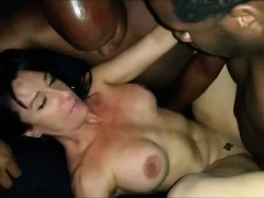 Hot MILF having a threesome with two BBC.
