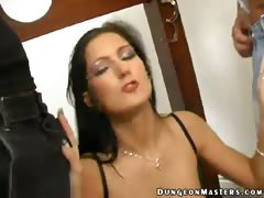 Gorgeous brunette slave in sexy lingerie Caslavova gets