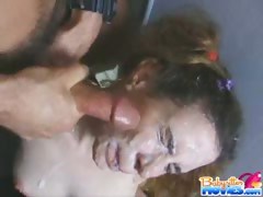 Beauty receives hot cum from unknown visiters