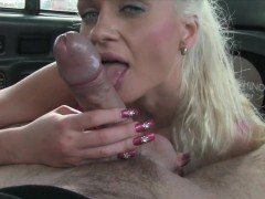 Passenger with big tits gets anal ripped in the backseat