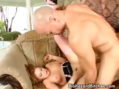 Blonde slut sucking and riding rough on big cock