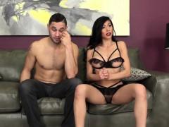 Busty webcam babe Heather Vahn fucks on couch