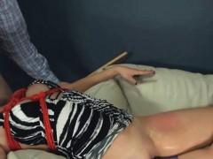 Extreme dildo asshole sex with rope BDSM teacher