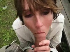 Short-haired young babe uses her mouth to suck this cock dr