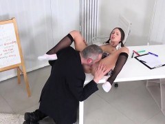 Cuddly schoolgirl is teased and drilled by her older teacher