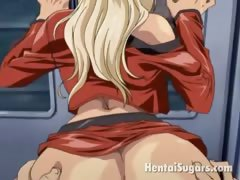 Incendiary blonde hentai minx getting undressed and rammed