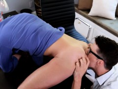 Jizzed office twink spoiled by his office