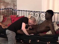 Adorable black dude Kai jerks off his cock before blowjob