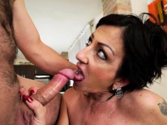 Brunette mature woman hammered hard and raw by big dick