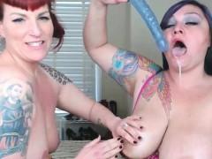 Chubby Lesbians Double Dildo Scissors