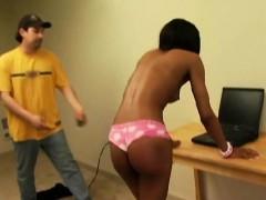Sexy black girlfriend blowing boyfriend white cock