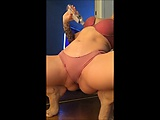 Blonde in panties flashes her pussy