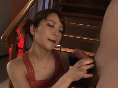 Elegant asian playgirl is having pleasure slurping a rod