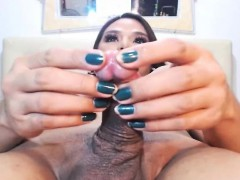 Busty Shemale Jerks Her Hard Cock