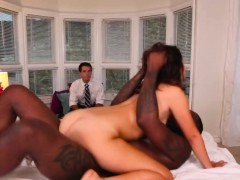Black cock destroying tight pussy