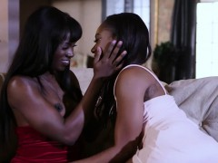 Two sexy black girls Chanell Heart and Ana Foxxx threesome