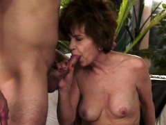 Hairy grandma in stockings gets cum in mouth